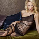 Black One-Shoulder Vertical Strap Body Stocking