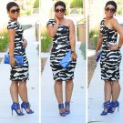 One-shoulder Zebra Print Dress