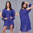 Cut-out Sleeves Solid Beach Chiffon Blouse Casual Tunic