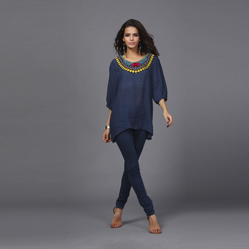 Vintage Bohemian Embroidery Round Neck T-shirt
