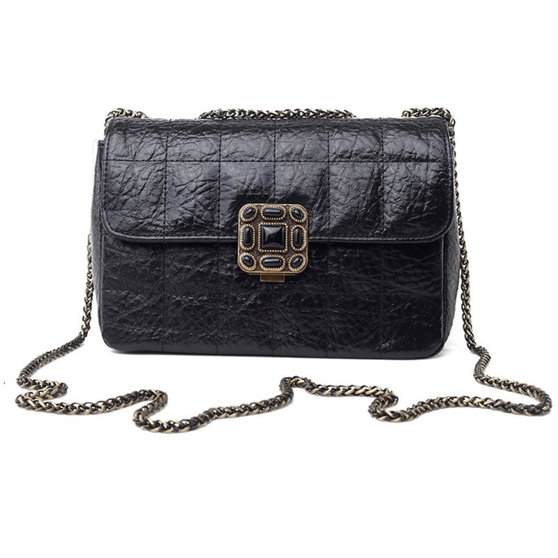 Chic Metal Strap Quilted Genuine Leather Shoulder Bag
