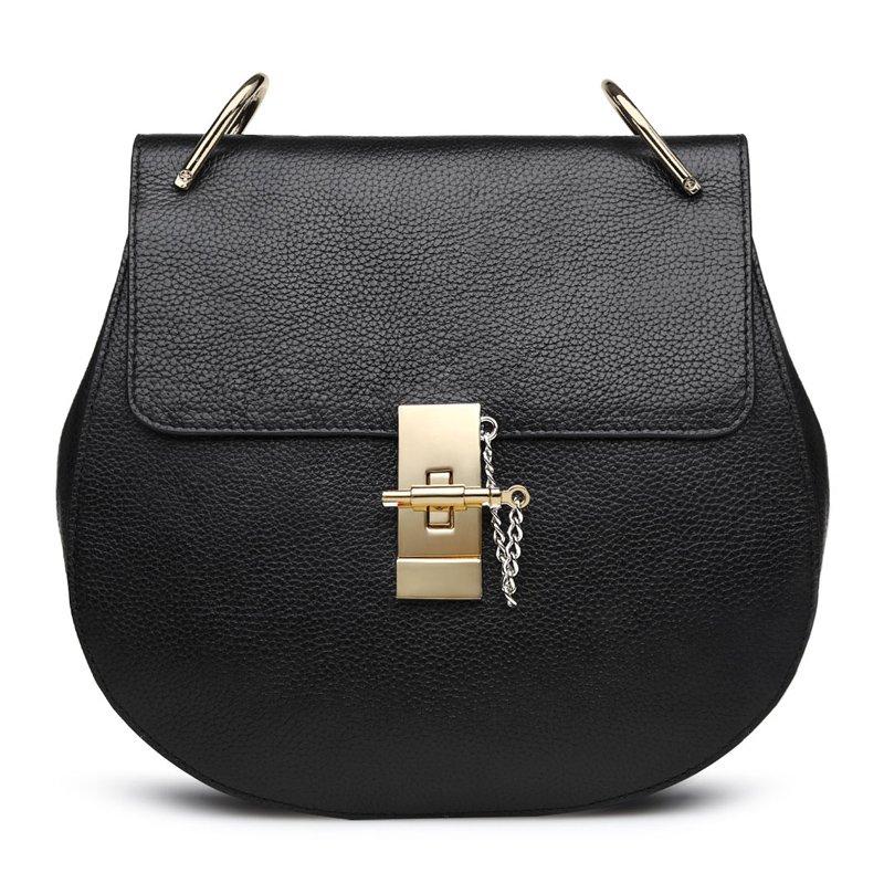 Turn Twist Mini Genuine Leather Shoulder Bag with Gold Chain