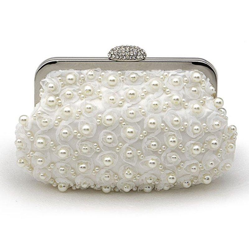 Mini Satin Soft Clutch Pearl Handbag Evening Bag