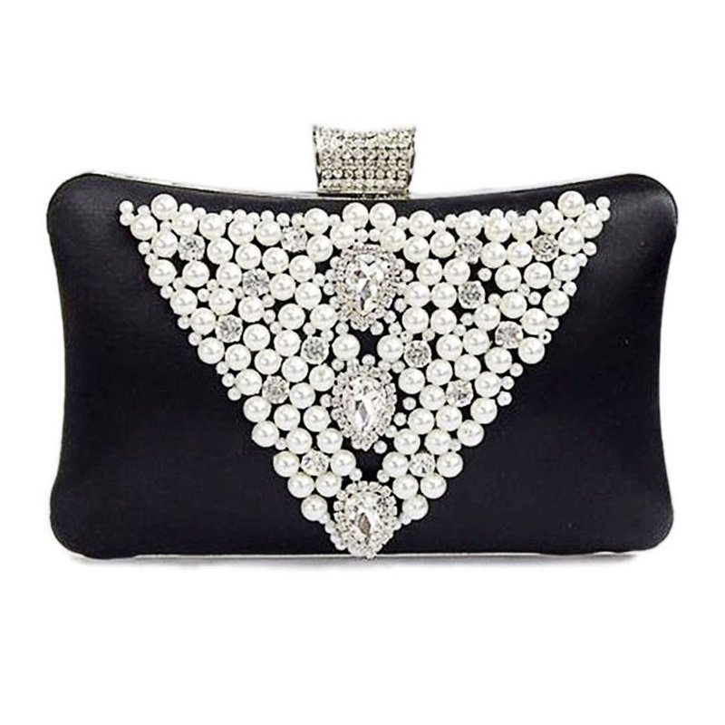 Pearl Beads / Rhinestone Brooches Hard Case Clutch Evening Bag