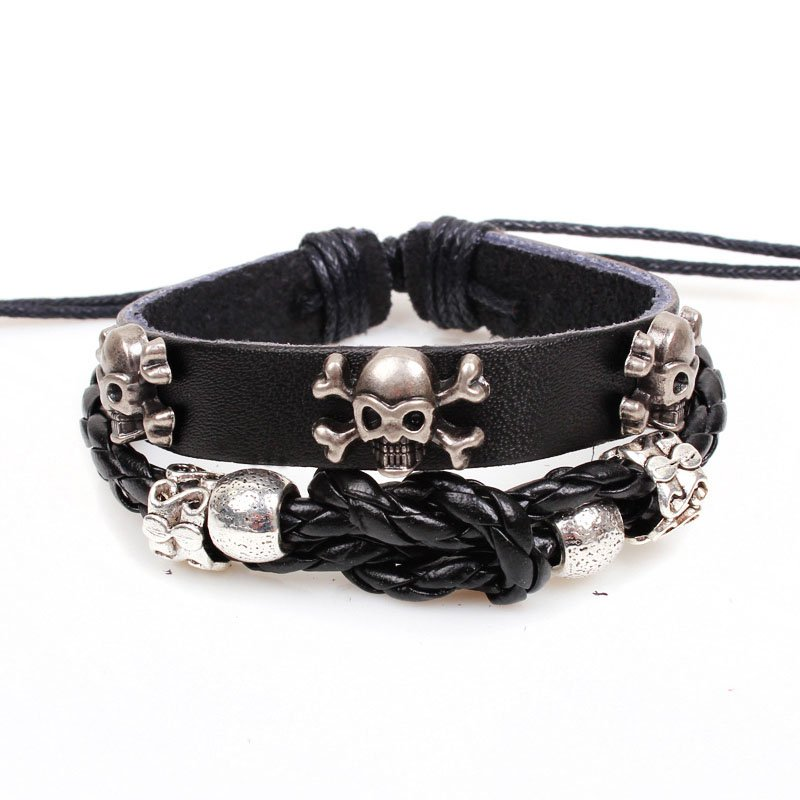 Skulls Handmade Beads Rope Weave Leather Bracelet