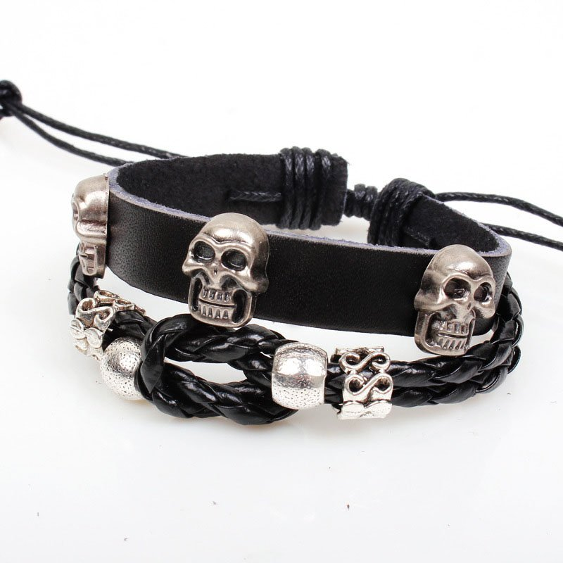 Pirate Skulls Handmade Beads Rope Weave Leather Bracelet