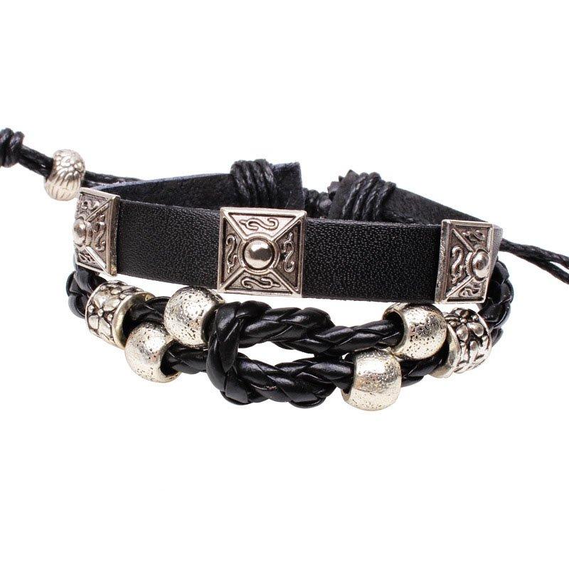 Block Handmade Beads Rope Weave Leather Bracelet
