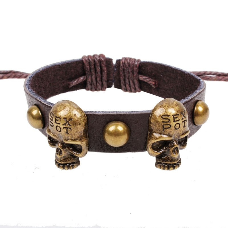 Retro Sex Pot Skulls Handmade Rivets Leather Bracelet