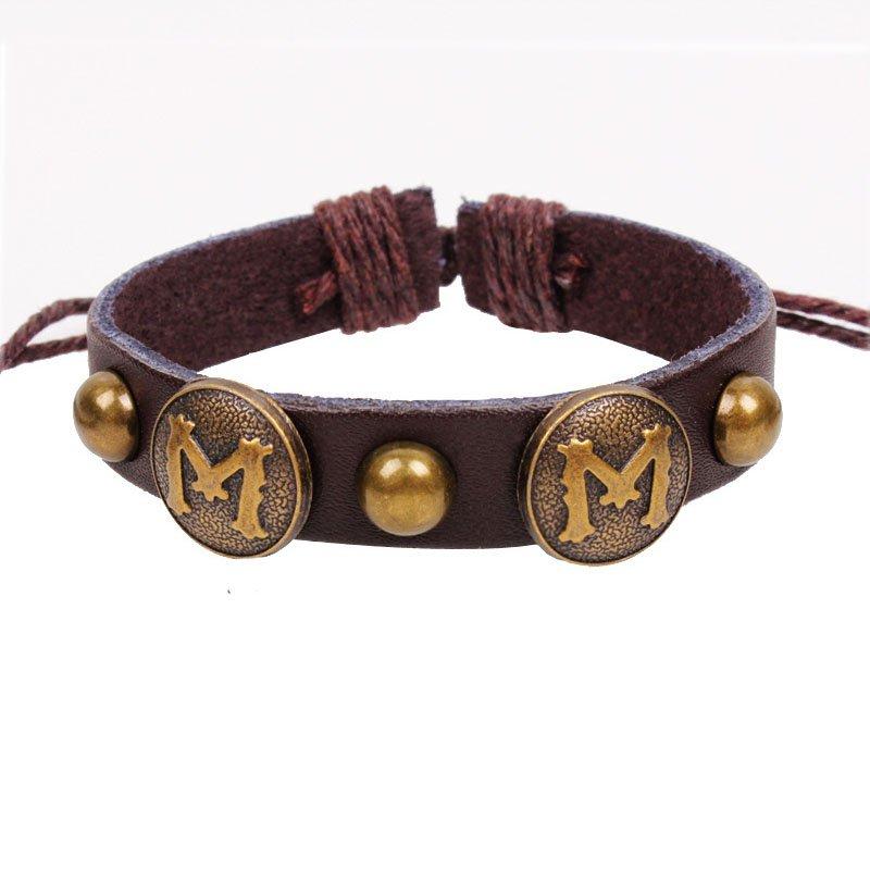 """Retro Letter """"M"""" Handmade Rivets Leather Bracelet"""
