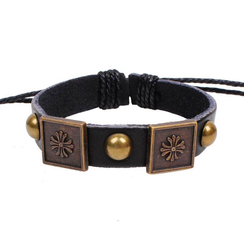 Retro Block Cross Handmade Rivets Leather Bracelet
