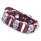 Retro Skulls Handmade Chains Leather Bracelet
