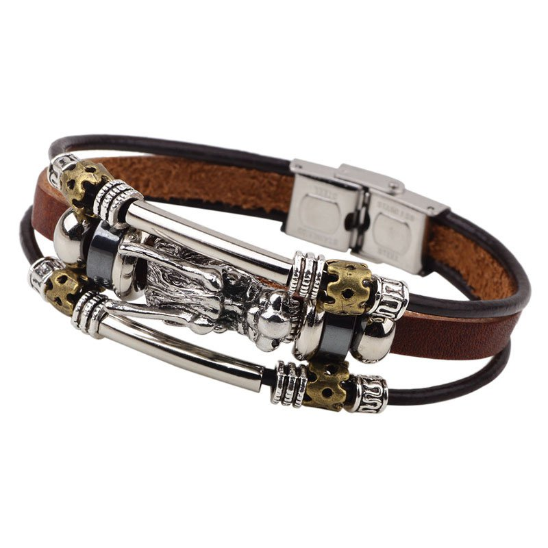 Luxe Silver Dragon PU Leather Bracelet With Rivets Rope