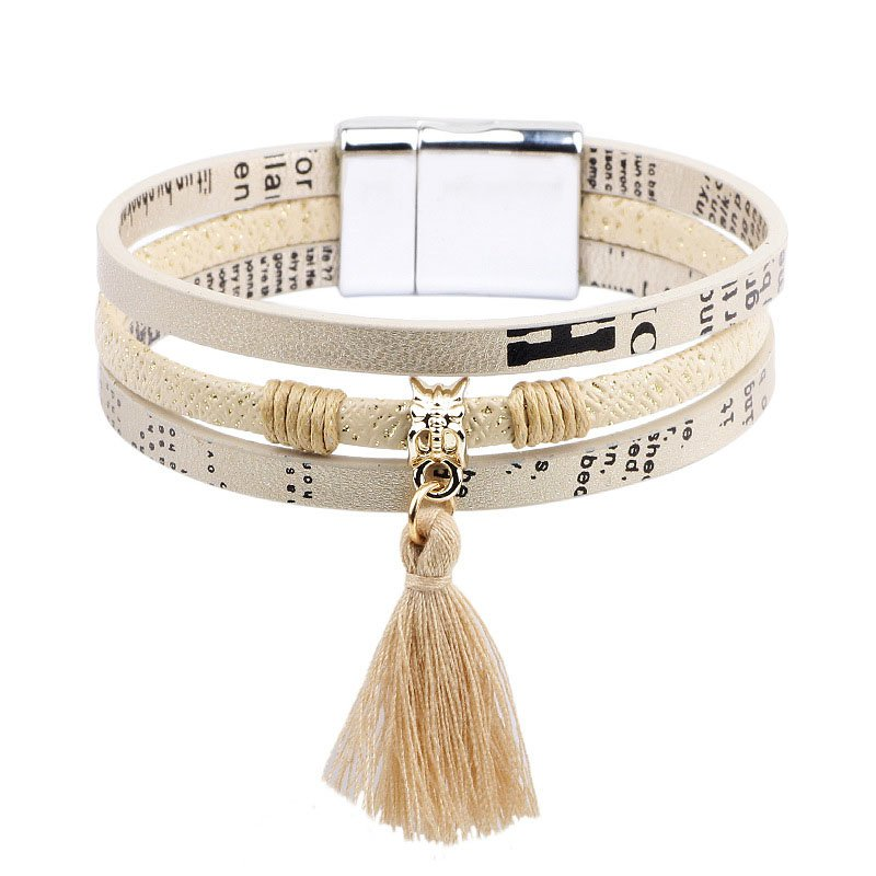 3 Layer Letter Pattern PU Leather Bracelet With Tassel