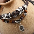 Retro Beads Rope PU Leather Bracelet With Alloy Leaf Pendant