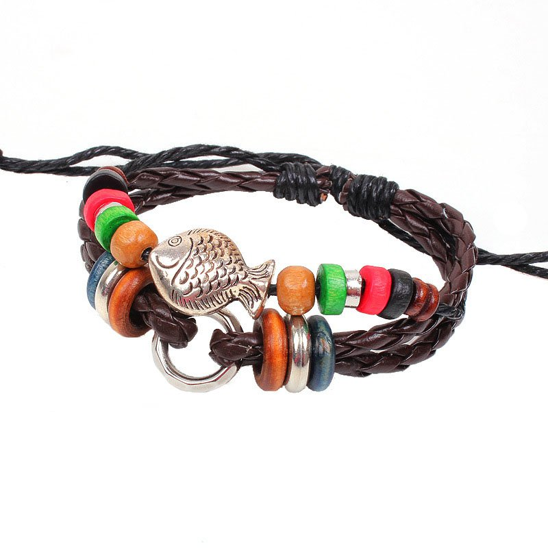 Alloy Fish Pattern Braided Rope PU Leather Bracelet