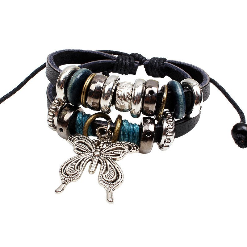 Alloy Butterfly Pendant PU Leather Bracelet With Rings