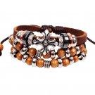 Bohemia Alloy Cross Wood Beads PU Leather Bracelet