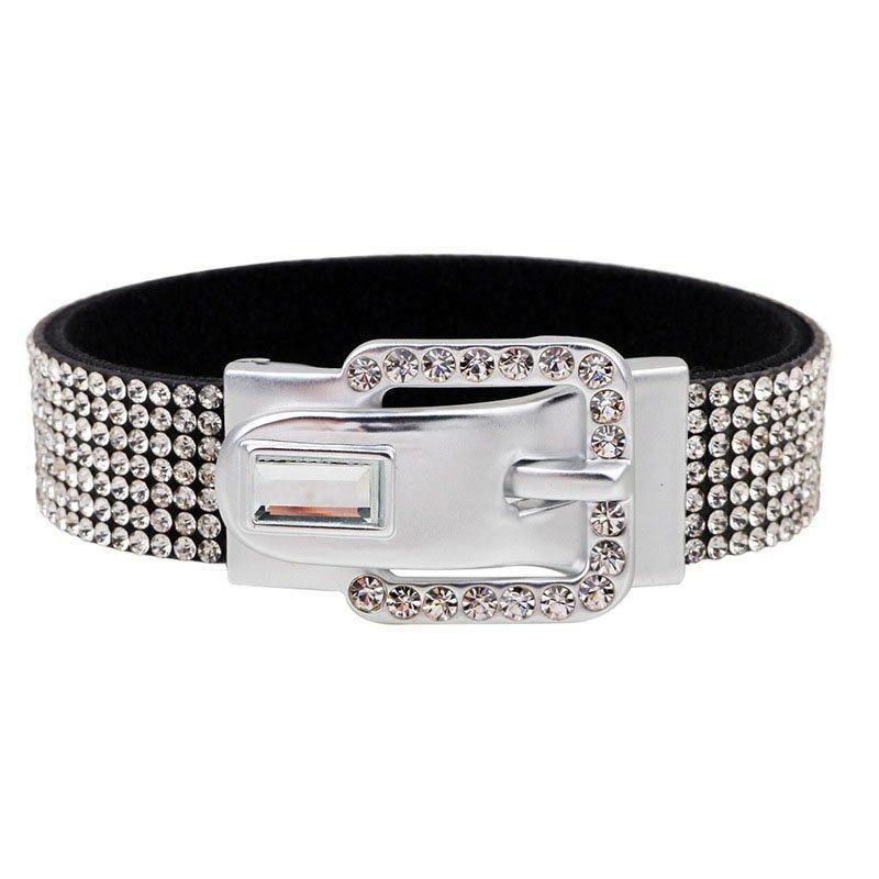 Gorgeous Rhinestone Studded PU Leather Bracelet