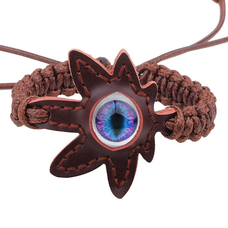 Eye Leaf Pattern PU Leather Bracelet