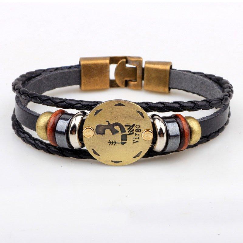 Golden Virgo Braided Black PU Leather Bracelet