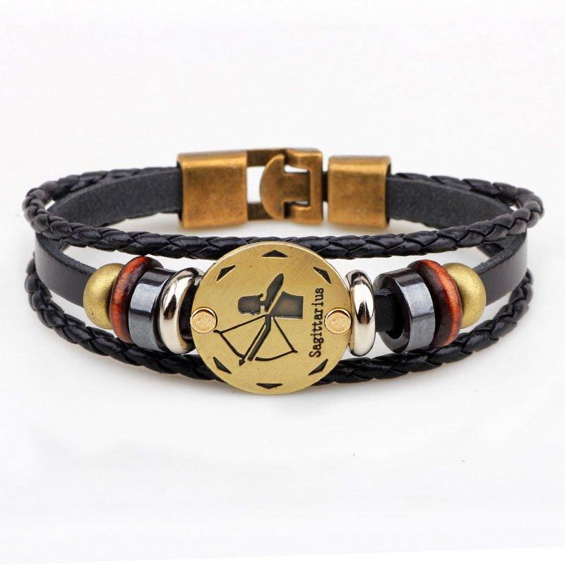 Golden Sagittarius Braided Black PU Leather Bracelet