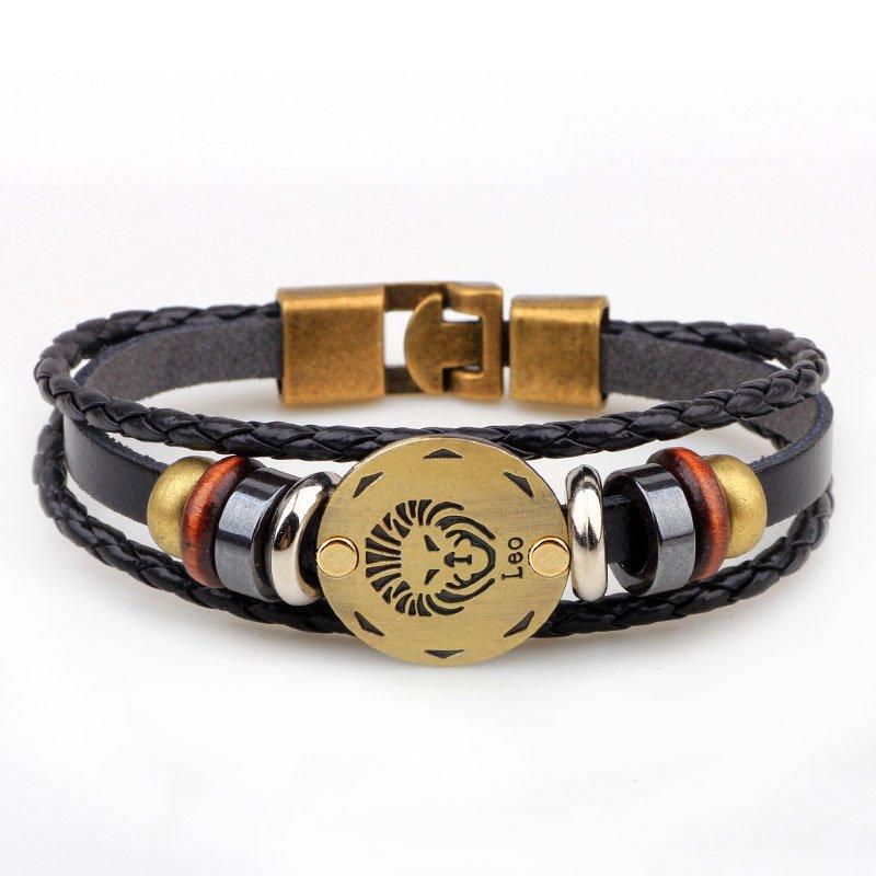 Golden Leo Braided Black PU Leather Bracelet