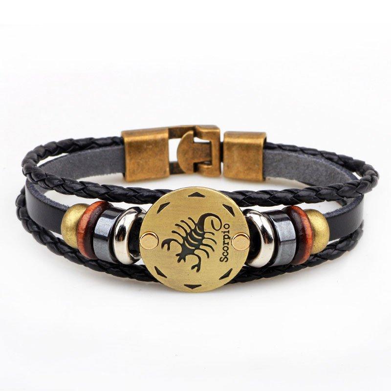 Golden Scorpio Braided Black PU Leather Bracelet