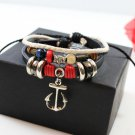 3 Layer Alloy Rings Rope Leather Bracelet With Alloy Anchor Pendant