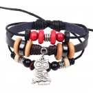 3 Layer Beads Rope Leather Bracelet With Alloy Owl Pendant