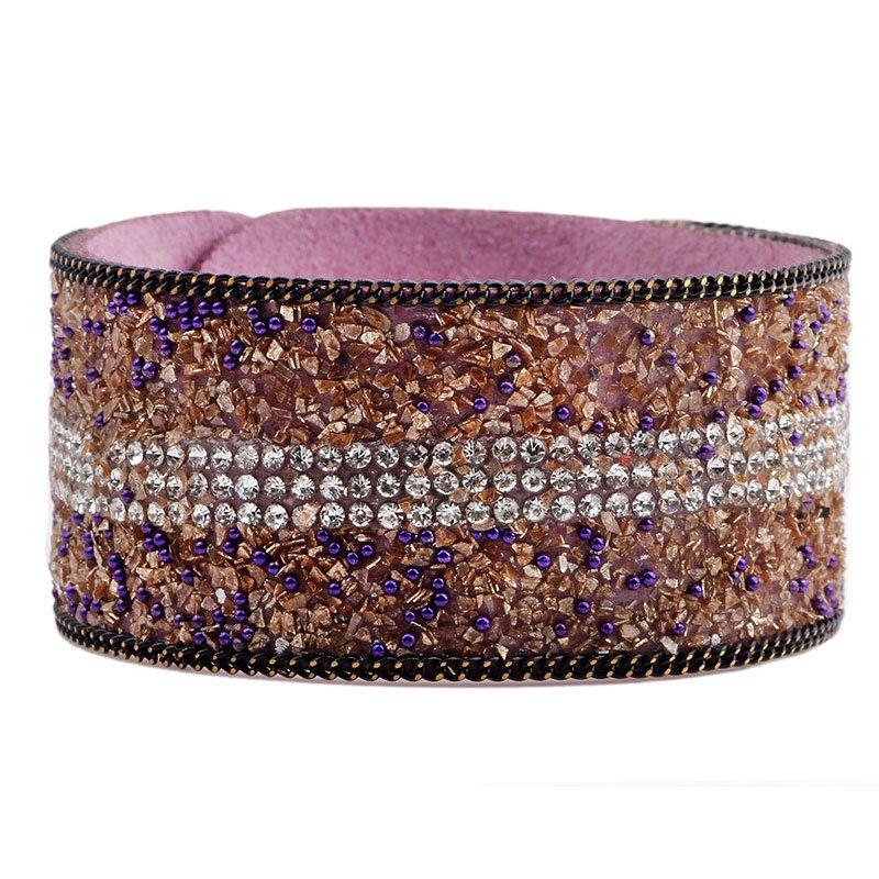Shining Rhinestone Fashion PU Leather Bracelet
