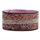 Shining Rhinestone Fashion PU Leather Bracelet