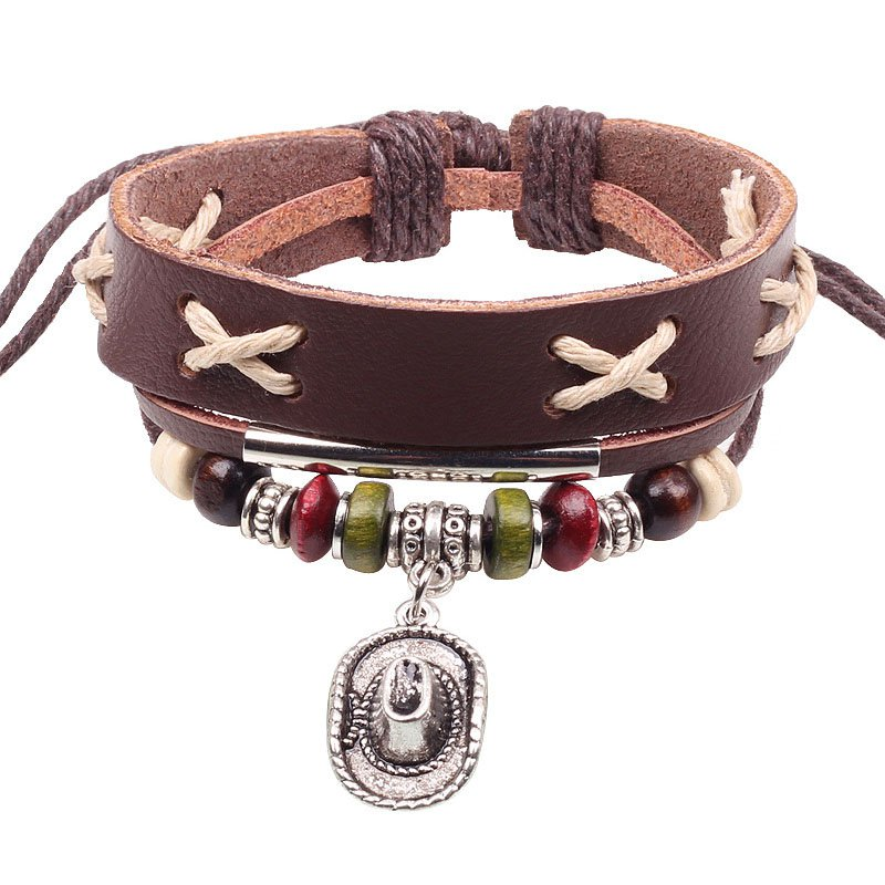 Ethnic Cowboy Hat Charm Adjustable Leather Bracelet