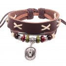Ethnic Cowboy Hat Charm Adjustable Leather Bracelet
