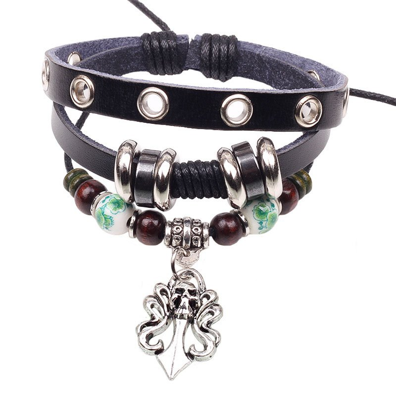 Metal Skull Pendant Beads PU Leather Bracelet With Rings Detail