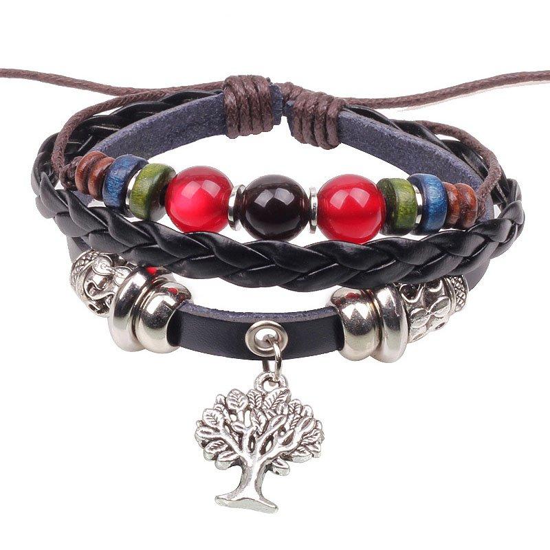 Alloy Beads Handmade Braided Black Leather Bracelet With Tree of Life Pendant