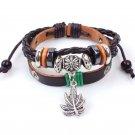 Silver Maple Leaf Pendant Beads Rope PU Leather Bracelet