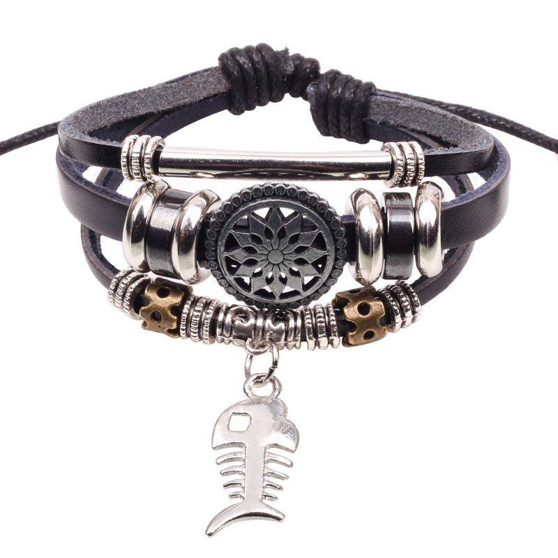 Fishbone Alloy Pendant Beads Rope Black Leather Unisex Wrap Bracelet