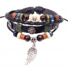 Silver Wing Pendant Skull Studded Braided Beads PU Leather Bracelet
