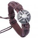 Retro Alloy Shield Rope PU Leather Bracelet