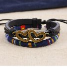 Alloy Dual-Love Rope PU Leather Bracelet