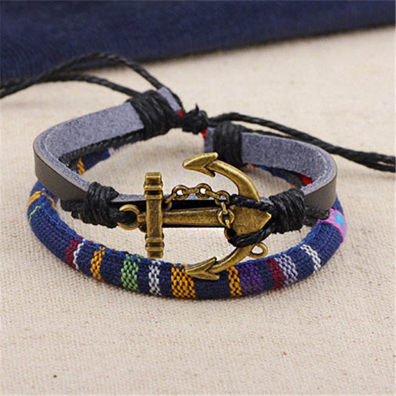 Alloy Anchor Rope PU Leather Bracelet