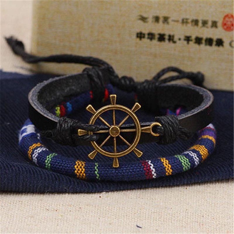 Alloy Rudder PU Leather Bracelet