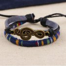 Alloy Musical Notation Rope PU Leather Bracelet