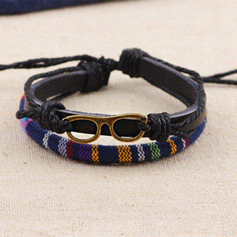 Alloy Glasses Rope PU Leather Bracelet