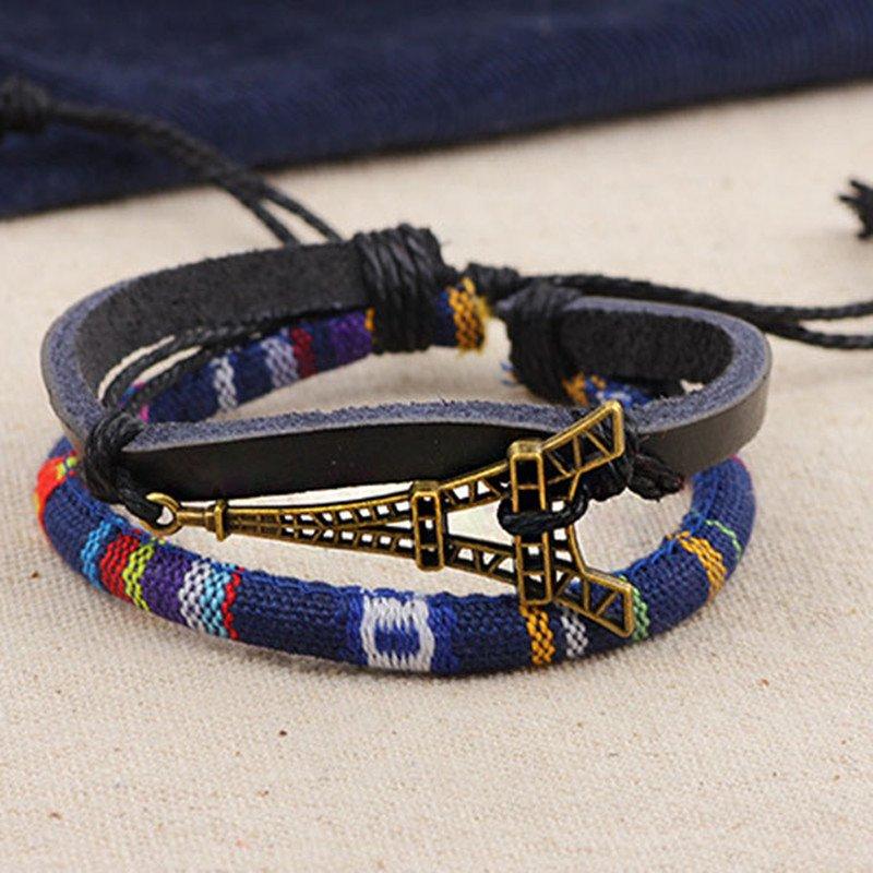 Alloy Eiffel Tower Rope PU Leather Bracelet