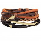 Golden Anchor PU Leather Braided Beads Bracelet