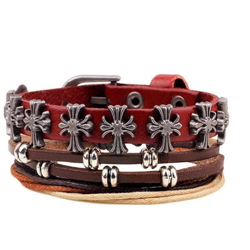 Metal Cross Rivets Rope PU Leather Bracelet