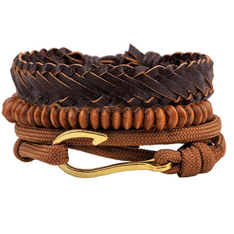 Golden Hook PU Leather Braided Beads Bracelet