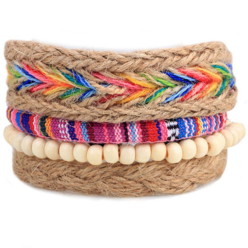 Faux Leather Colorful Beads Braided Hemp Rope Bracelet