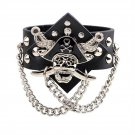 Punk Pirate Rivets PU Leather Bracelet With Metal Chains